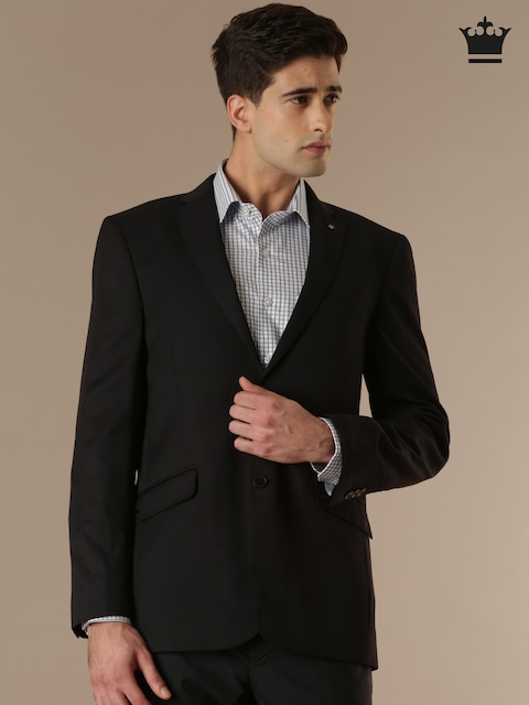 Louis Philippe Black Regular Fit Single-Breasted Formal Blazer