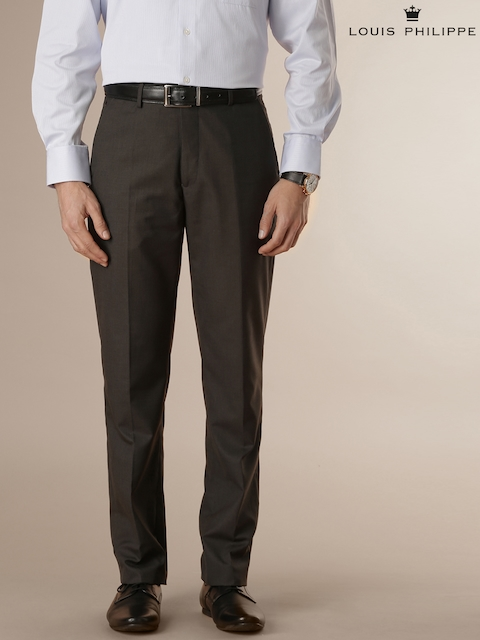 Louis Philippe Dark Brown Classic Fit Formal Trousers