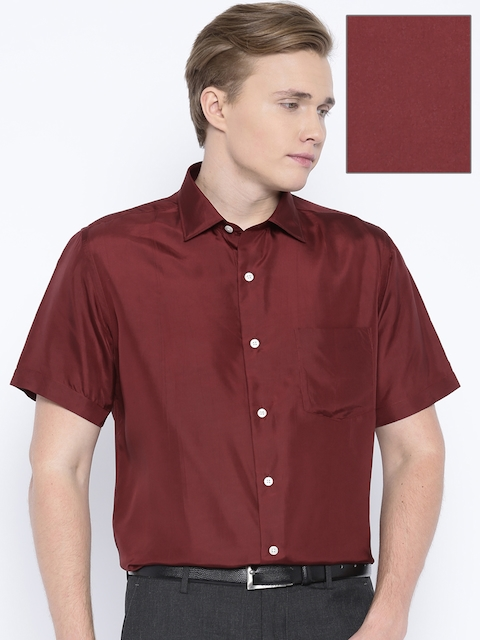 Arrow Maroon Silk Formal Shirt