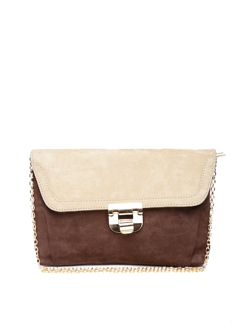 Lino Perros Brown Colourblocked Clutch with Chain Strap