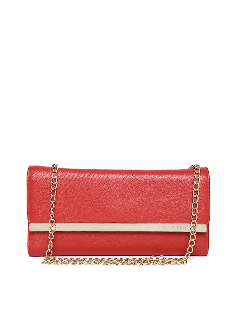 Lino Perros Red Textured Clutch with Chain Strap