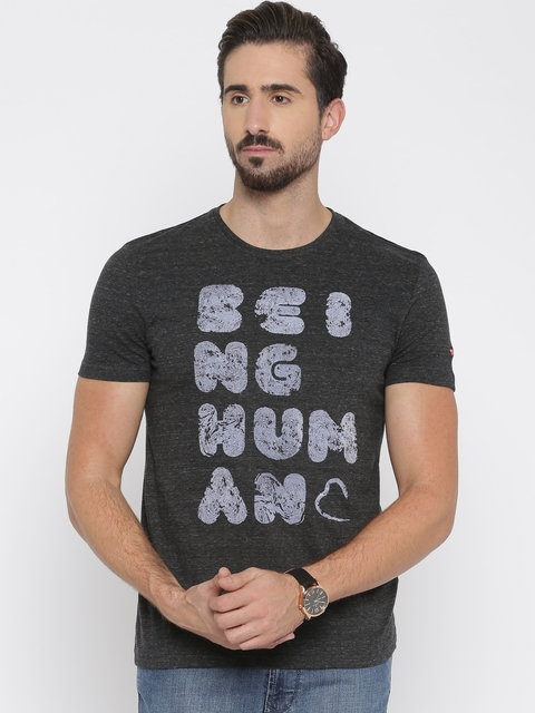 Being Human Charcoal Grey Printed T-shirt