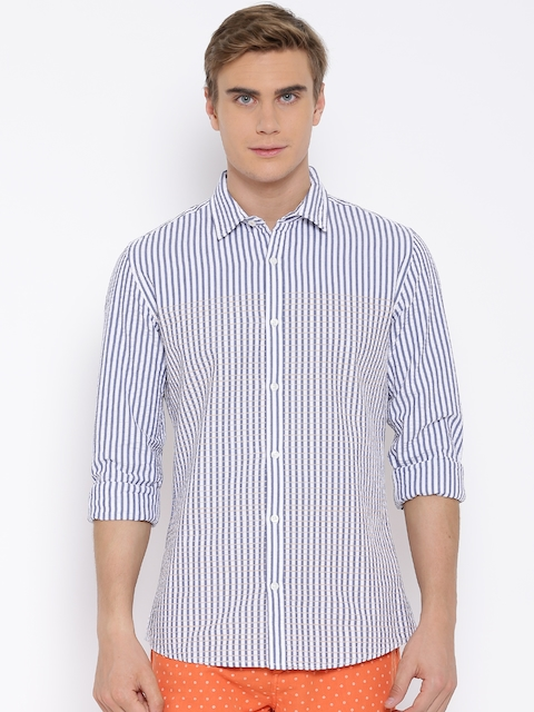 United Colors of Benetton White & Blue Seersucker Striped Casual Shirt