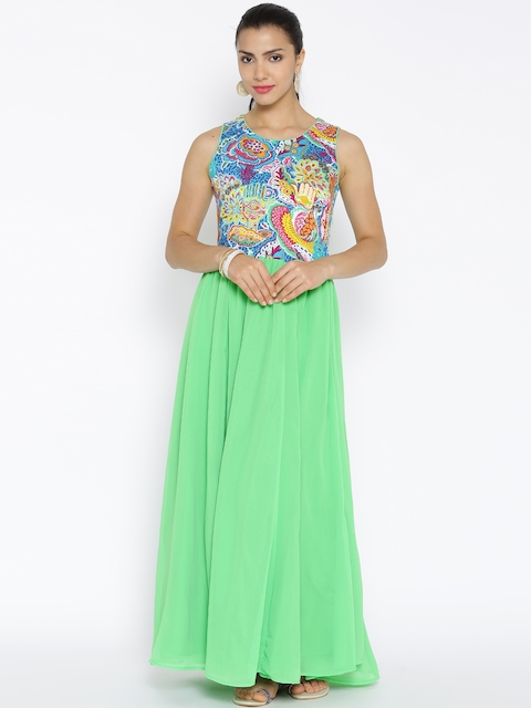 BIBA Green Printed Maxi Dress