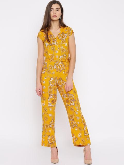 BIBA Mustard Yellow Floral Print Jumpsuit