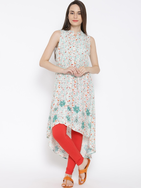 BIBA Off-White Abstract Print High-Low Kurta