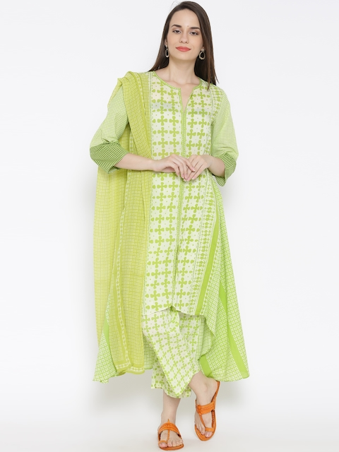 BIBA Green & Cream-Coloured Printed A-Line Kurta with Trousers & Dupatta
