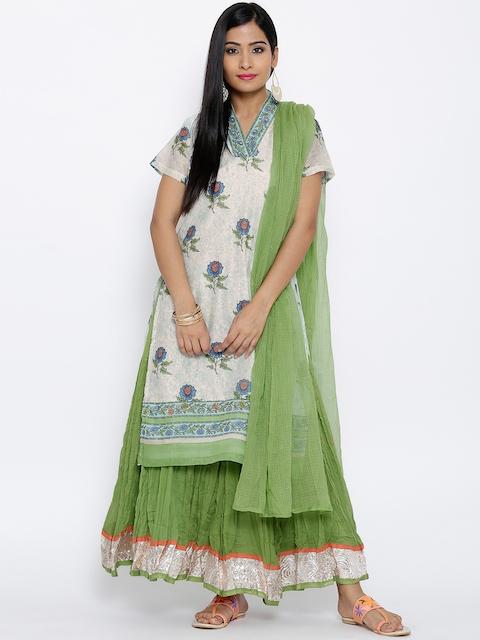 BIBA Off-White & Green Printed Clothing Set