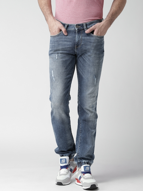 Celio Blue Washed Slim Jogg Stretchable Jeans  available at myntra for Rs.1399