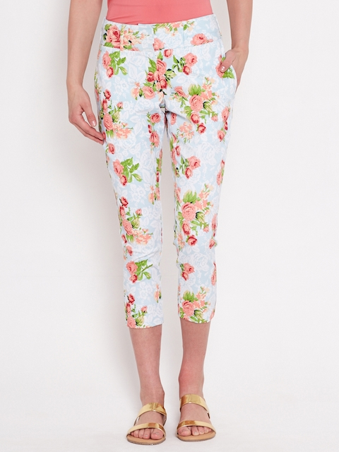 American Swan Blue Floral Print Cropped Trousers