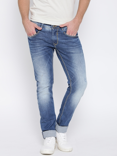 SPYKAR Blue Washed Skinny Fit Stretchable Jeans