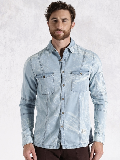 RDSTR Men Blue Regular Fit Washed Denim Casual Shirt