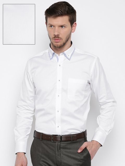 Raymond Men White Regular Fit Striped Formal Shirt