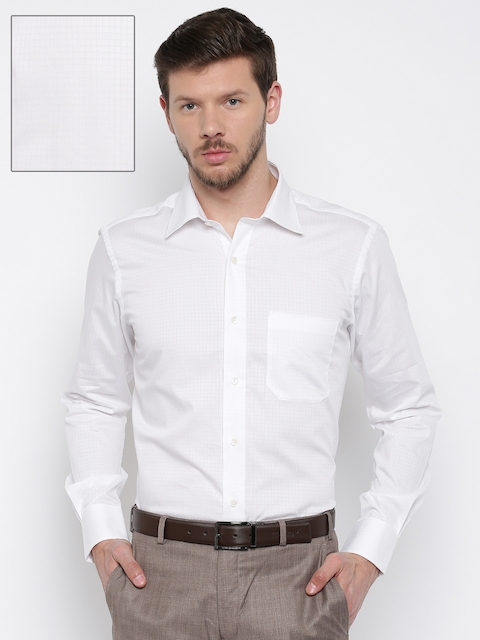 Raymond Men White Checked Contemporary Fit Formal Shirt