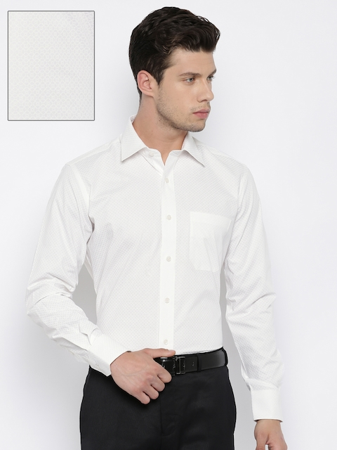 Raymond Men Off-White Contemporary Fit Printed Formal Shirt