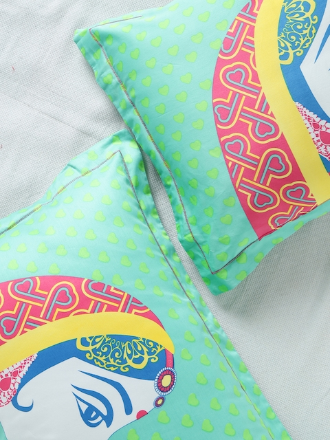 Portico New York Manish Arora Classic Green Set of 2 Printed 18 x 27 Rectangular Pillow Covers