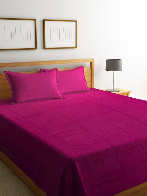 Portico New York Magenta Cotton Double Bed Cover with 2 Pillow Covers