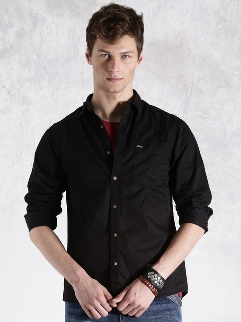 Roadster Black Casual Shirt