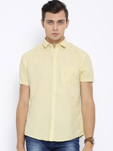 Killer Yellow Linen Blend Lean Fit Casual Shirt