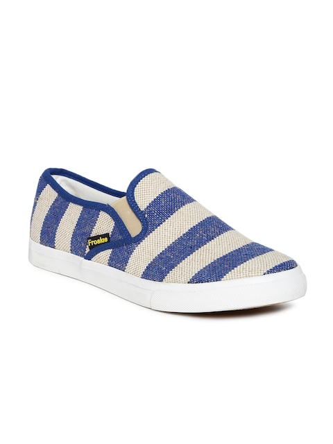 Froskie Men Blue & Beige Striped Casual Shoes
