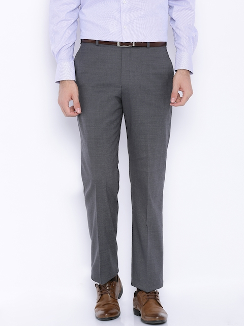 Park Avenue Grey Woollen Slim Formal Trousers