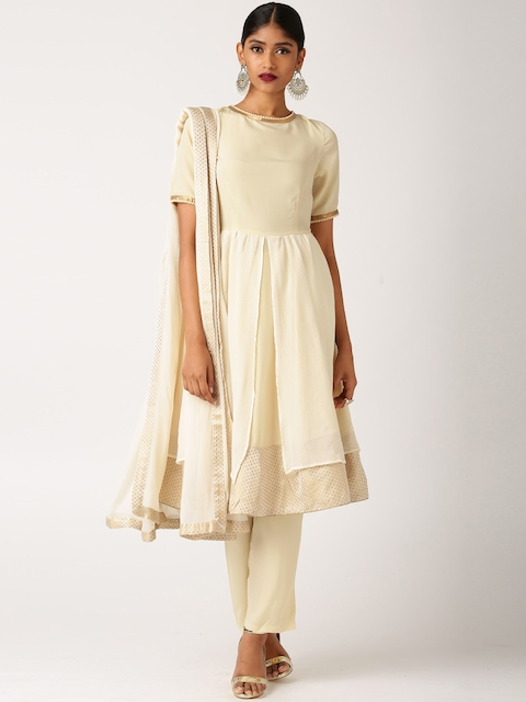 All About You from Deepika Padukone Beige Anarkali Kurta with Slim Fit Pants and Duptta