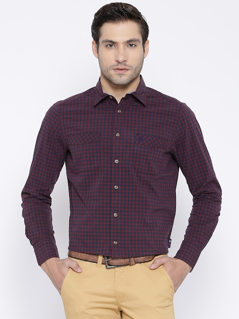 American Swan Burgundy Checked Smart Fit Smart Casual Shirt