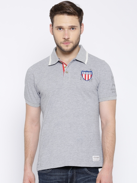 American Swan Grey Melange Polo T-shirt