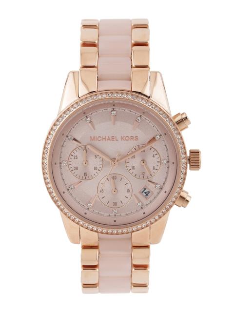 Michael Kors Women Rose Gold-Toned Stone-Studded Dial Watch MK6307I