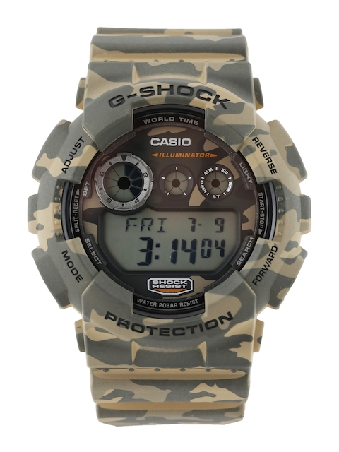 Casio G-Shock Men Brown & Olive Green Camouflage Print Digital Watch G513