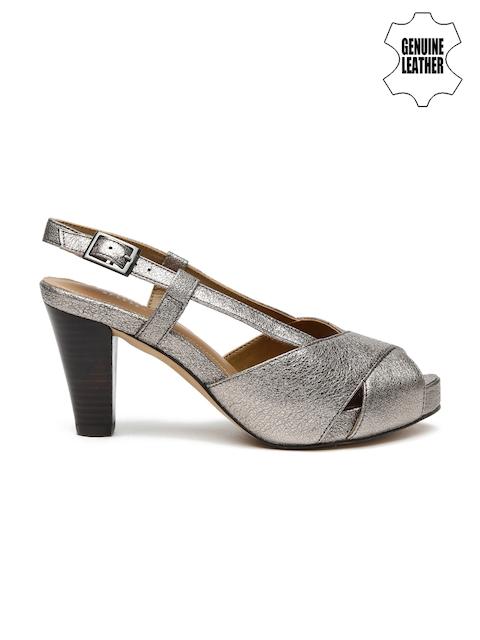 Clarks Women Gunmetal-Toned Leather Peep-Toes
