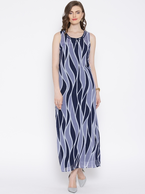 Vero Moda Blue & Grey Printed Maxi Dress