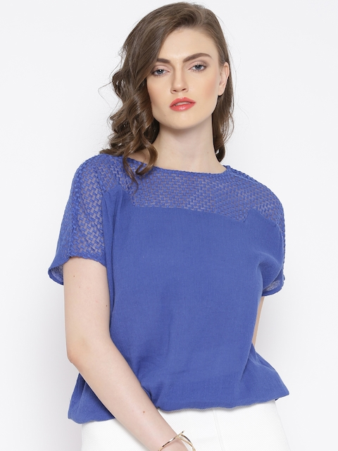 Vero Moda Blue Sheer Embroidered Yoke Top