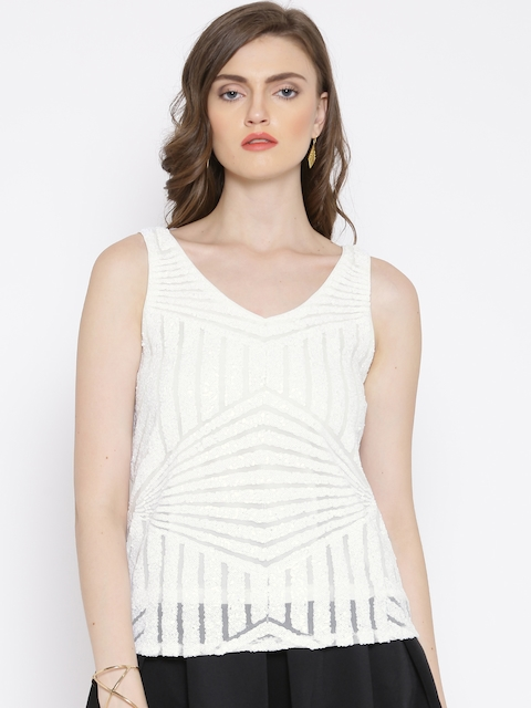 Vero Moda White Sequinned Top