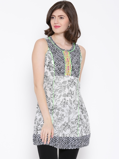 BIBA Off-White & Black Floral Print A-Line Kurti  available at myntra for Rs.479