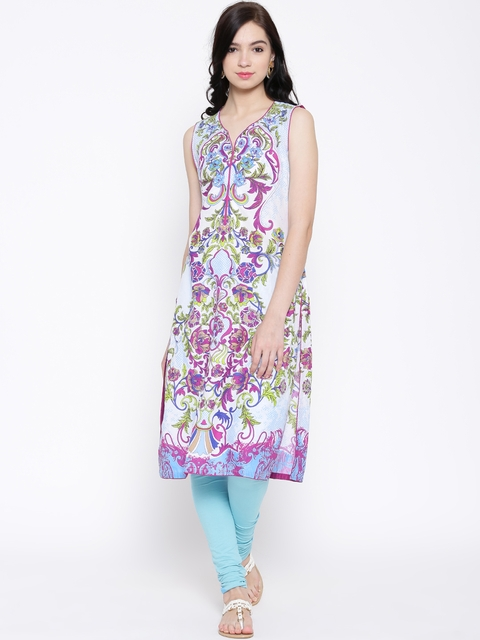 BIBA White & Purple Floral Print Kurta  available at myntra for Rs.479