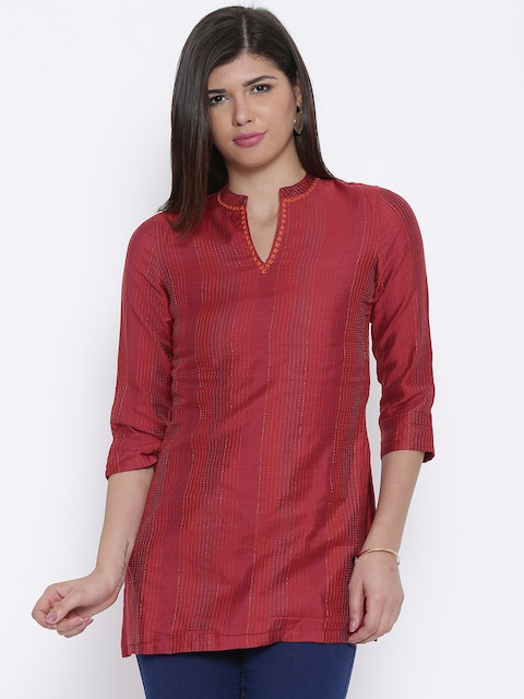 BIBA Maroon Polyester Kurti  available at myntra for Rs.499