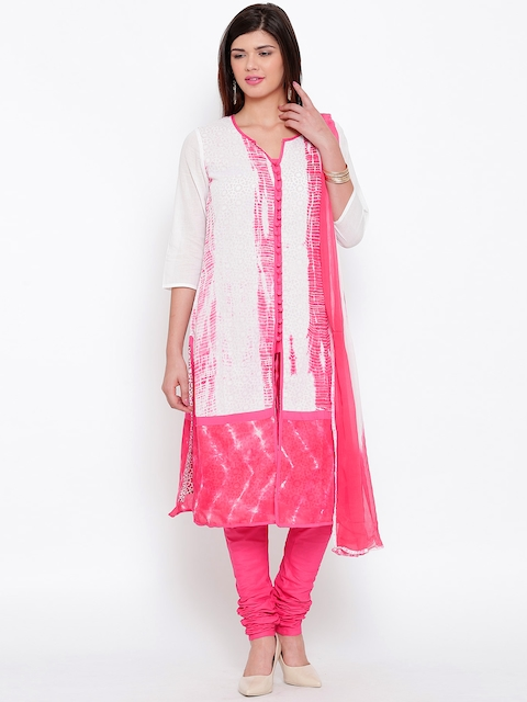 BIBA Off-White & Pink Tie-Dye Churidar Kurta with Dupatta