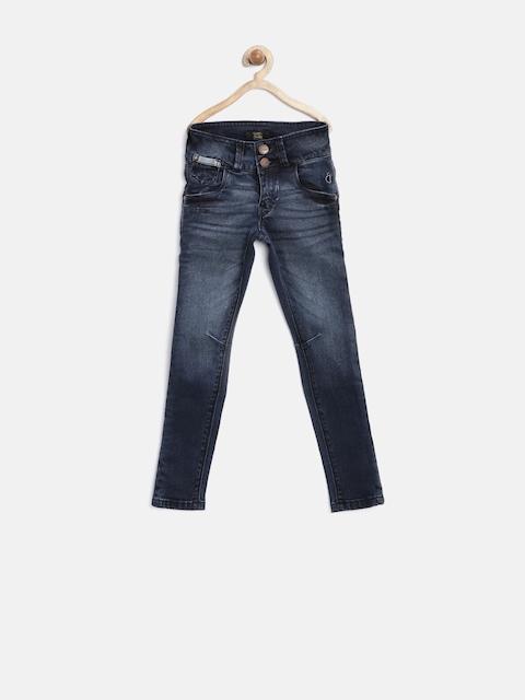 Gini & Jony Gold Girls Navy Washed Slim Stretchable Jeans