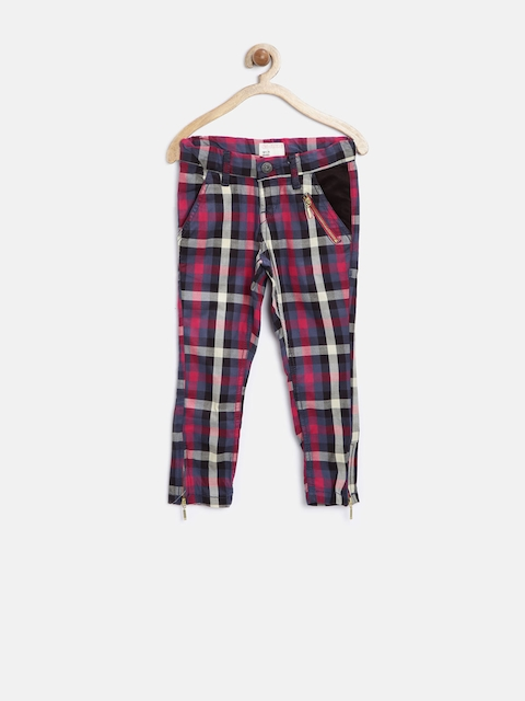 Gini & Jony Girls Multicoloured Checked Trousers