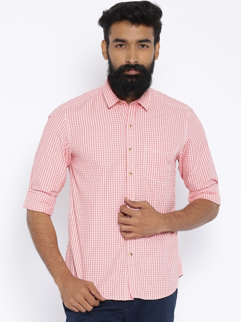 John Players Pink Checked Trim Fit Casual Shirt