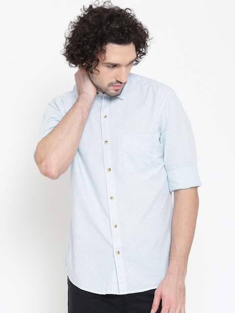 John Player Blue Checked Trim Fit Casual Shirt  available at myntra for Rs.719