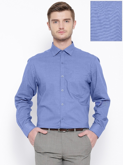John Players Blue Self-Checked Formal Shirt