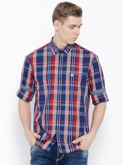 John Players Red Checked Trim Fit Casual Shirt