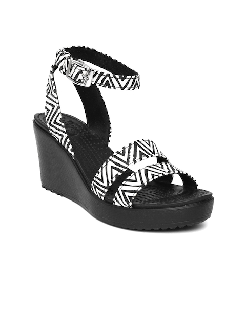 Crocs Women White & Black Printed Wedges