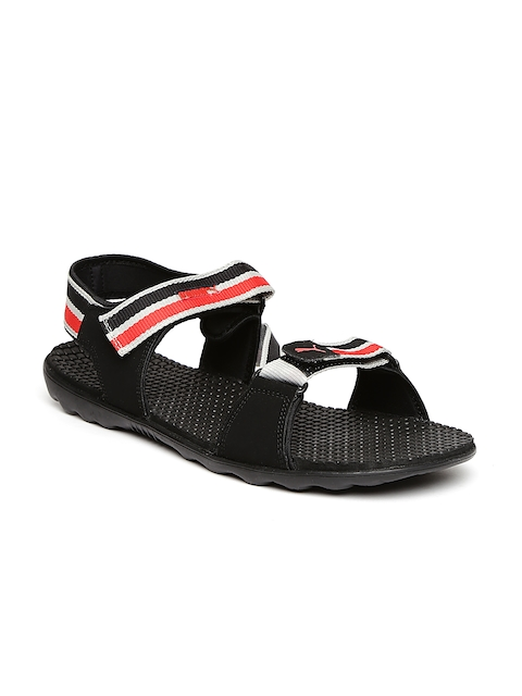 Puma Unisex Black & Red Silicis Mesh DP Sports Sandals