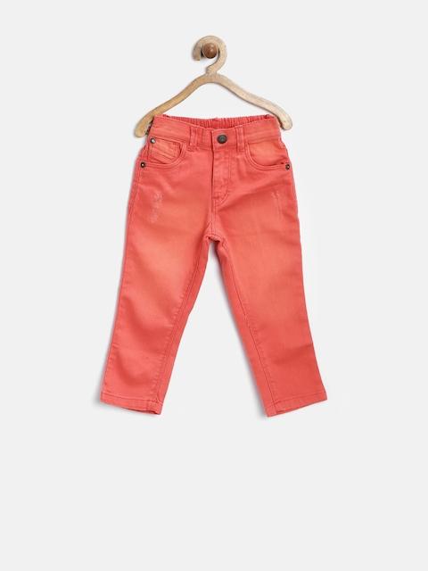 Gini and Jony Girls Coral Orange Stretchable Jeans
