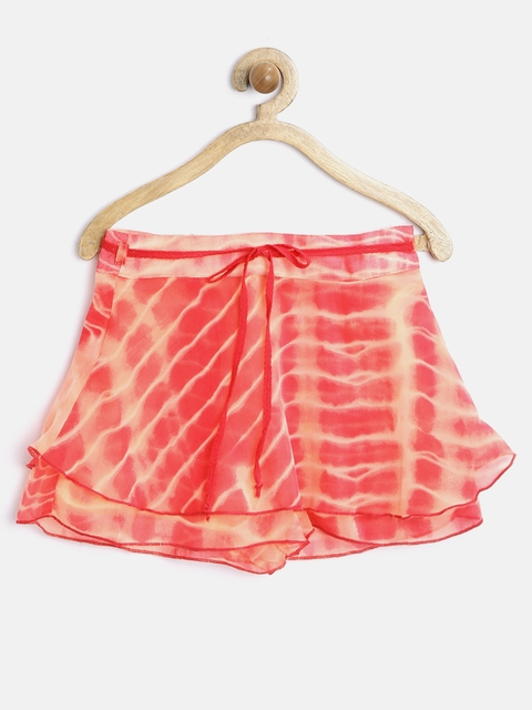 Gini & Jony Girls Orange Tie-Dyed Skorts