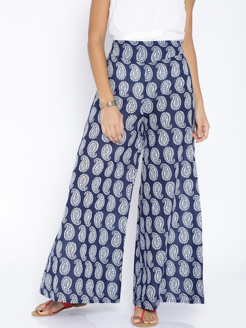 Desi Weaves Navy Printed Palazzo Trousers