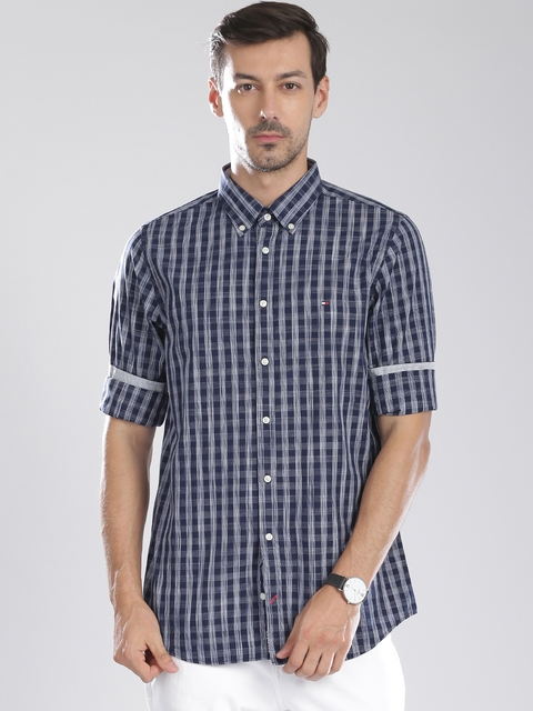 Tommy Hilfiger Navy Checked Slim Casual Shirt